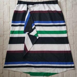 Lane Bryant Striped Ruffle A-Line Skirt
